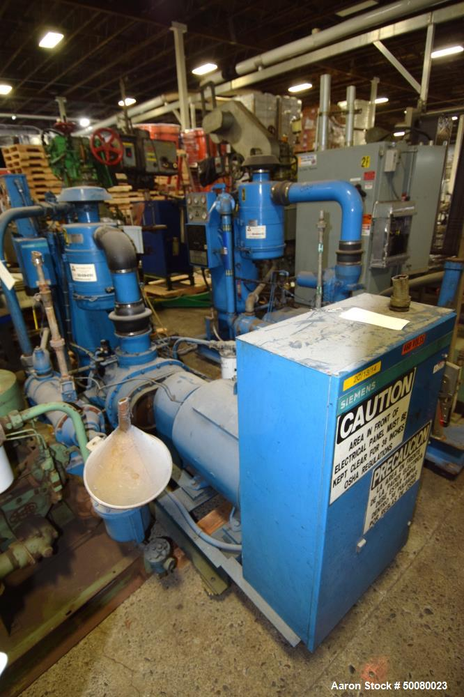 Used- Rodgers Machinery Quincy Northwest Rotary Screw Compressor, Model QNW360-C2. Driven by a 75hp motor, skid mounted. Ser...