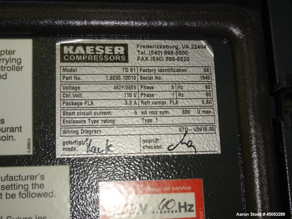 Used- Kaeser Cycling Refrigerated Air Dryer, Mode on