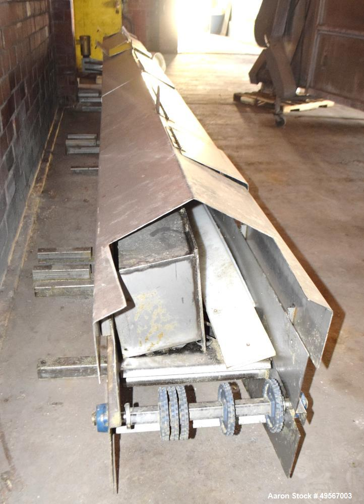 "Used- Cooling Conveyor. Approximate 18"" wide x 316"" long plastic belt, driven by a 1hp, 3/60/208-230/460 volt, 1155 rpm gear..."