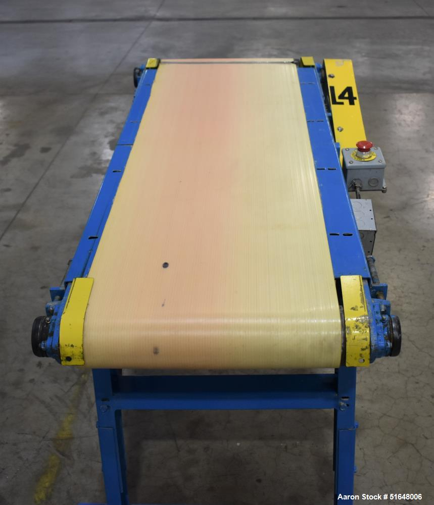 """Used- Belt Conveyor. Approximate 17"""" wide belt. Driven by a Leeson 1750 rpm, 90 volt, DC motor. Mounted on a adjustable heig..."""