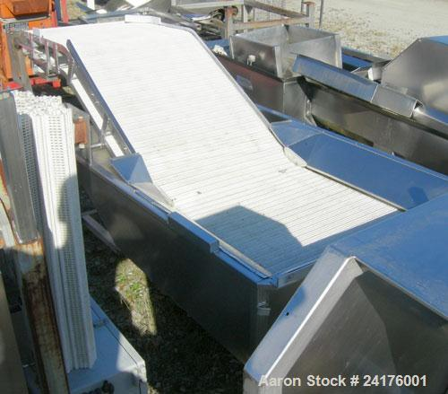 """Used- Belt Conveyor, """" Z """" Shaped. 38"""" wide x 48"""" bottom section x 48"""" inclined section x 36"""" top section plastic mesh belt,..."""