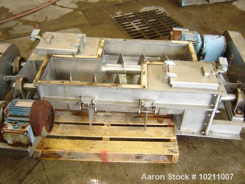 "Used-Double Screw Conveyor Distribution Package. Twin 9"" x 34"" screw feeders, stainless steel. Motor 15 hp, 1700 rpm, 230/46..."