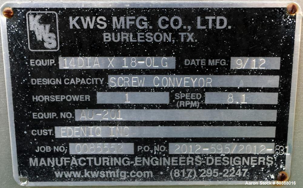 Used- KWS Manufacturing Enclosed Tube Screw Conveyor