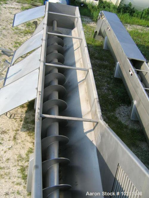 "Used-24"" Diameter X 20'6"" Long Wolfking Inclined Stainless Steel Screw Conveyor, Type 2140, Food Grade. 3/8"" flighting space..."