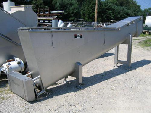 "Used-15"" Diameter X 13'-6"" Long Wolfking Inclined Stainless Steel Food Grade Screw Conveyor, Type 2170. 7.5 hp motor equippe..."