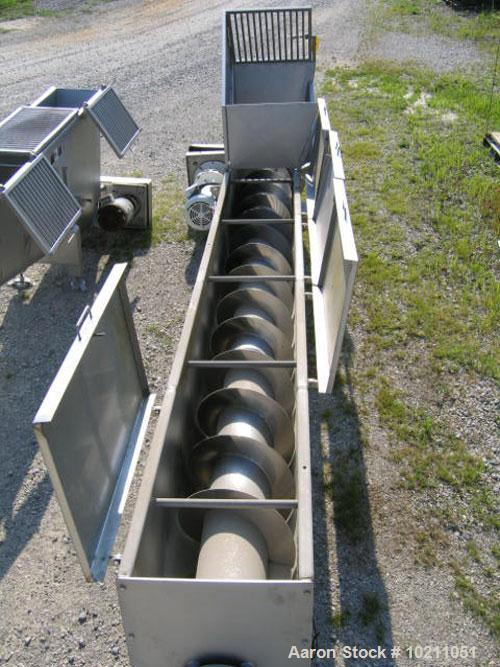 "Used-18"" Diameter X 16'-6"" Long Wolfking Inclined Stainless Steel Food Grade Screw Conveyor, Type 2221. 20 hp Baldor motor, ..."