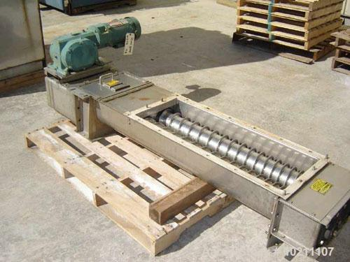 "Used-6"" X 56"" Wyssmont Stainless Steel Twin Screw Feeder. Trough width 13"", graduated flighting from 1.5"" to 3"" centers. Dis..."