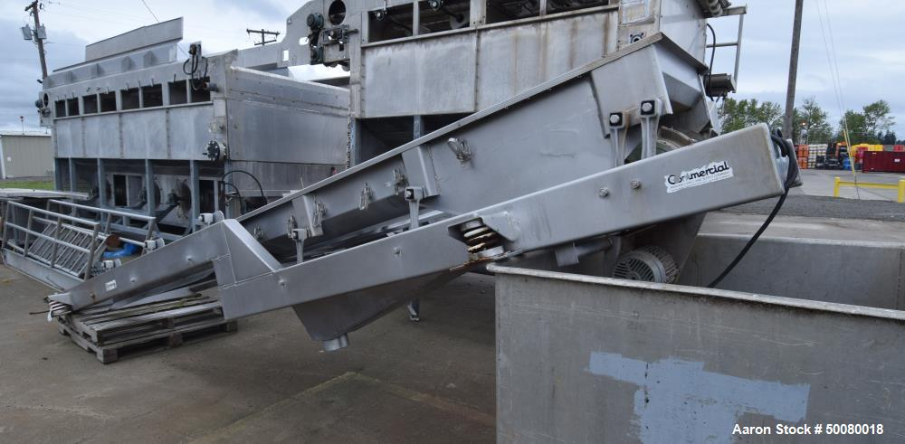"Used- Commercial Dewatering Vibratory Conveyor, Stainless Steel. Feed section approximate 24"" wide x 24"" long, dewatering se..."