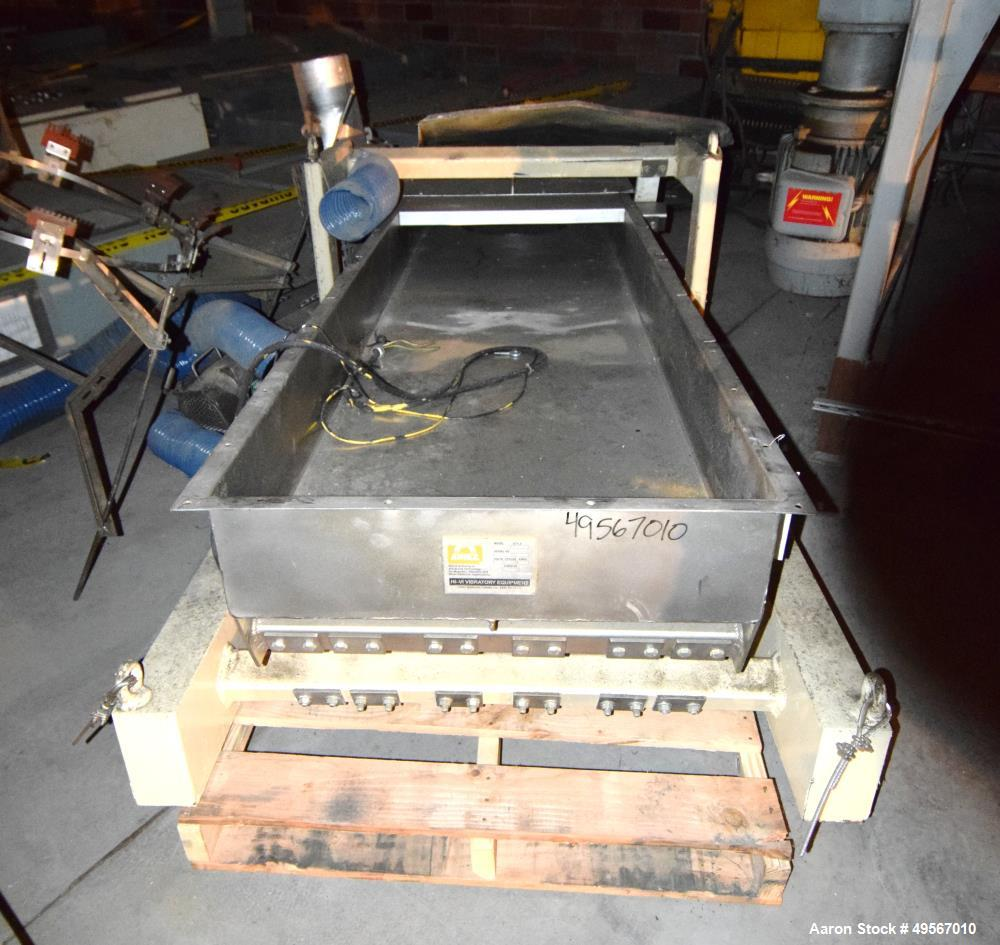 """Used- Eriez Vibrating Conveyor, Model VMC-30, Style 200707403. Stainless steel pan approximate 30"""" wide x 108"""" long x 8"""" tal..."""