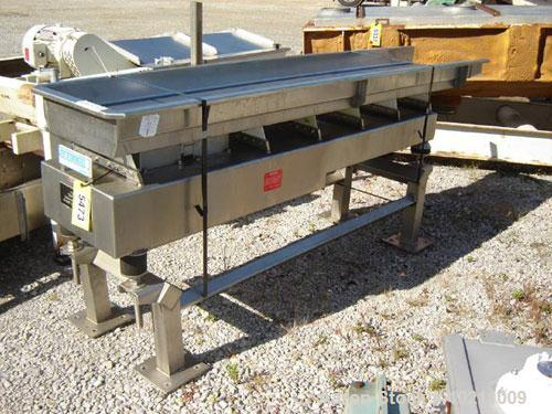 "Used-Smalley Stainless Vibrating Conveyor. 18"" wide x 8' long, 4"" deep pan. All stainless steel food grade construction. End..."