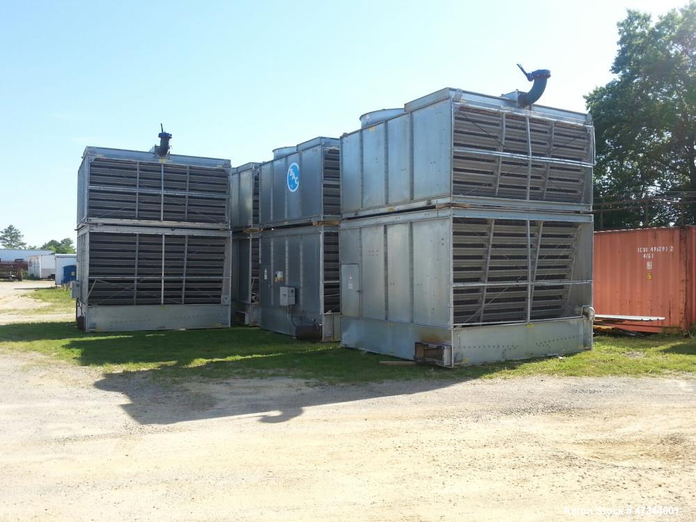 Used- BAC 2-Cell Cooling Tower, Model 15425-2. Galvanized Steel, built for 1,083 gpm per cell or 361 nominal tons so the hot...