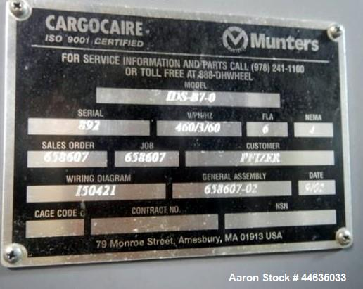 Used- Munters Cargocaire Integrated Dehumidification System, Model IDS-B7-0