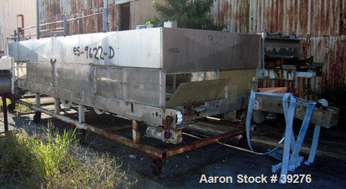 """Used- Cooling Tunnel, Stainless Steel. Approximate 96"""" wide x 20' long. Approximately (12) 4"""" wide plastic belts. Previously..."""