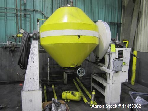 Used- 20 Cubic Foot Abbe Double Cone Vacuum Dryer. Stainless steel construction.