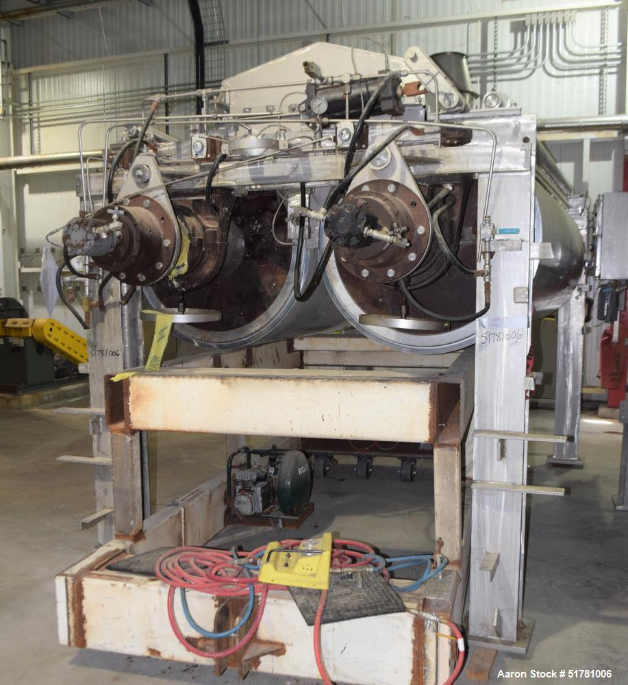 """Used- Double Drum Dryer. (2) Approximate 42"""" diameter x 120"""" face chrome plated rolls. Each rated 160 psi at -20 to 650 degr..."""