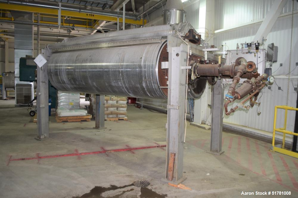 """Used- Double Drum Dryer. (2) Approximate 42"""" diameter x 120"""" face chrome plated rolls. (1) Rated 160 psi at -20 to 650 degre..."""