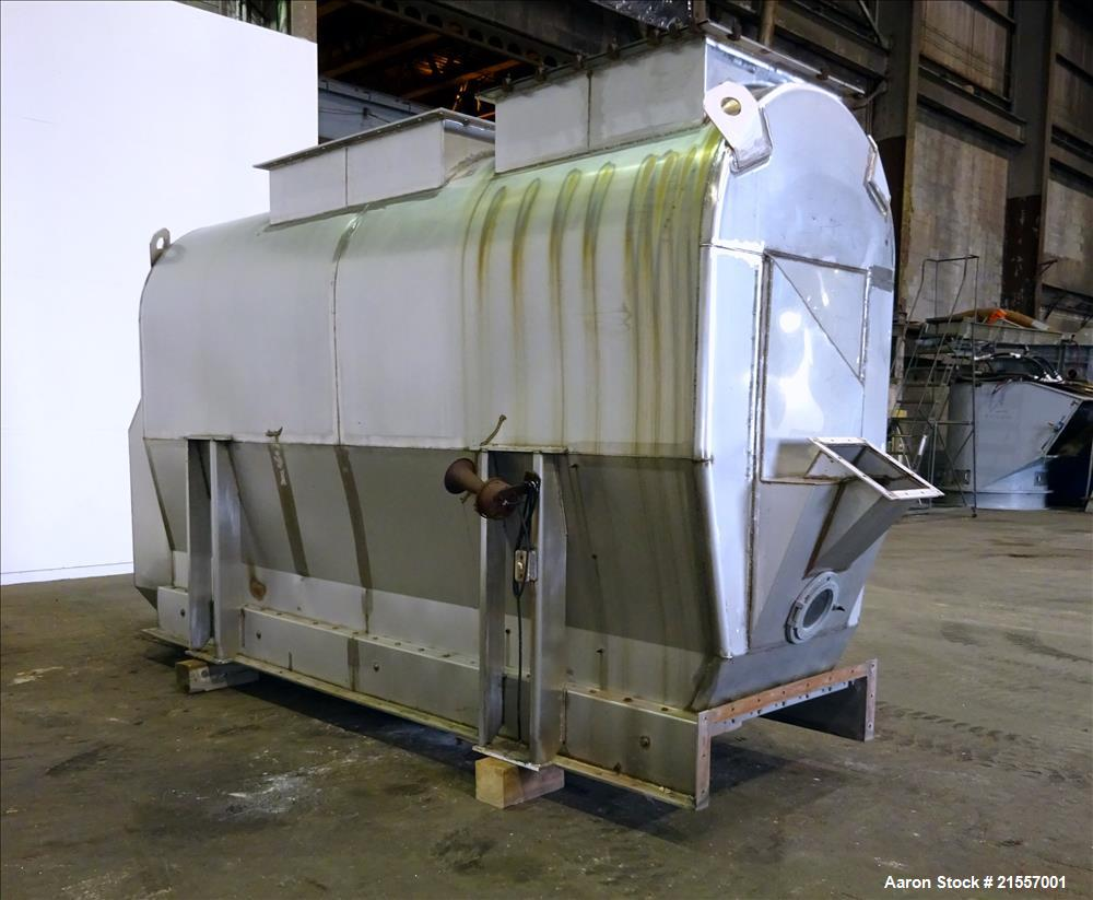 """Used-Scott Fluid Bed Dryer, Stainless Steel. Approximate 32"""" wide x 13' long, approximately 32 square feet of drying area. I..."""