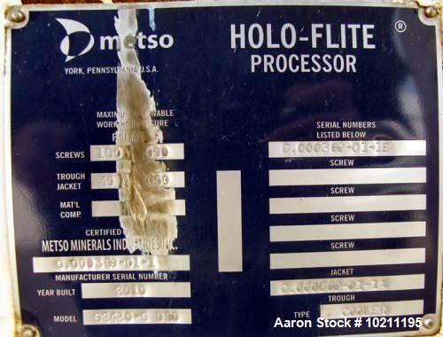 Unused- Metso Minerals Holo-Flite Cooler Jacketed Thermal Processor, Model S2420-6-DED. Mild steel SA 516 grade 70 material ...
