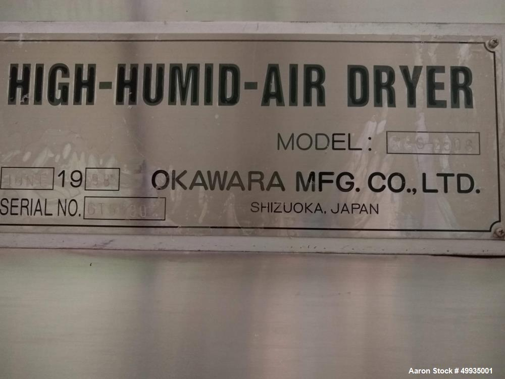 Used- Okawara MFG. Co. LTD. High-Humid-Air Rotary Dryer; Model RAS-250S