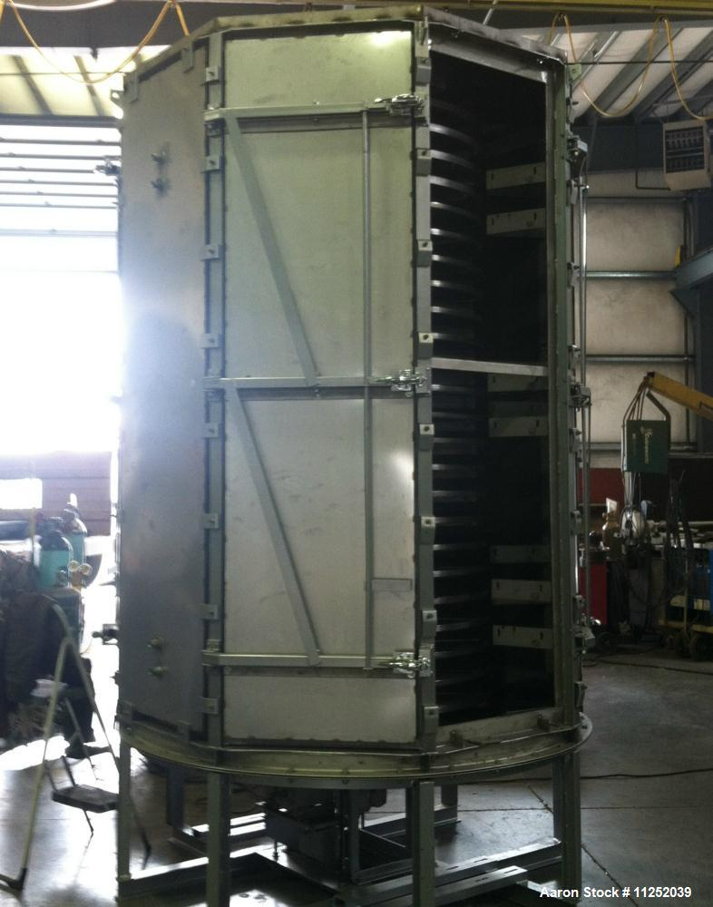 Used- Wyssmont Turbo Dryer, Model L-24.  Includes (24) 316 stainless steel rotating trays, 6' diameter, gas fired unit with ...