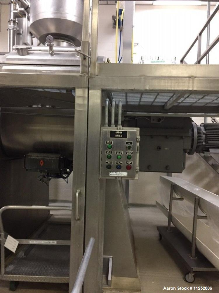Used- Aaron Process Vacuum Dryer with Cored Shafts and Jacketed Trough.