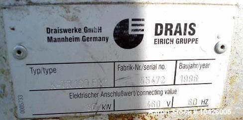 "Used- Draiswerke, All in One Reactor. 1996 yr, Type K-TR160FM1, 20"" diameter x 60"" long, 30 Kw, 40 hp 230/460v, MAWP 2175. F..."