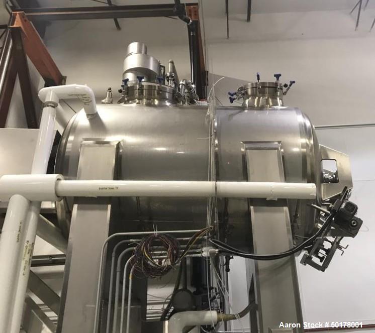 Used- Feldmeier Horizontal, Insulated, Jacketed, Round Hip Rotary Vacuum Dryer.