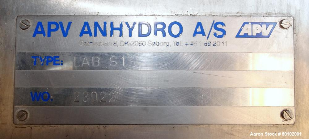 Used- Anhydro APV Model Lab S-1, Stainless Steel Spray Dryer.