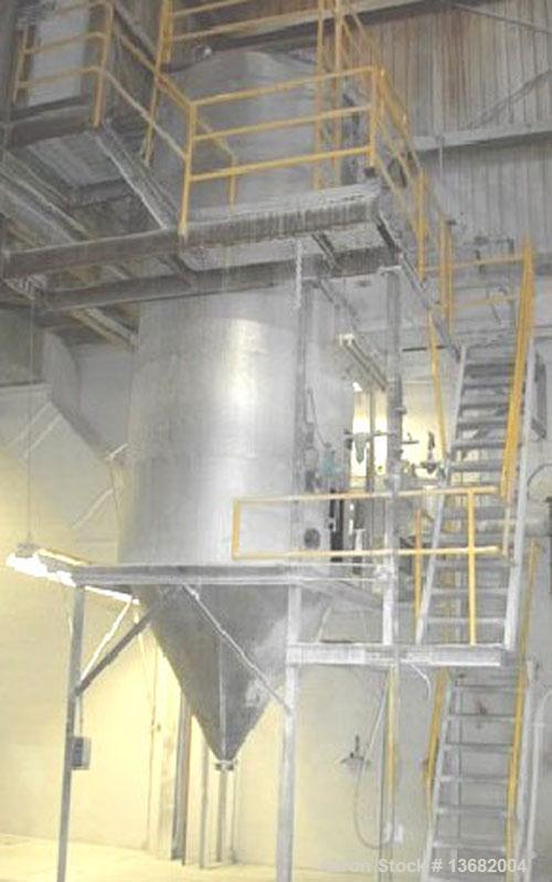 """Used-Bowen Spray Dryer, Model #3, 6' diameter, 15' straight wall, 64"""" long cone, stainless steel chamber, insulated straight..."""