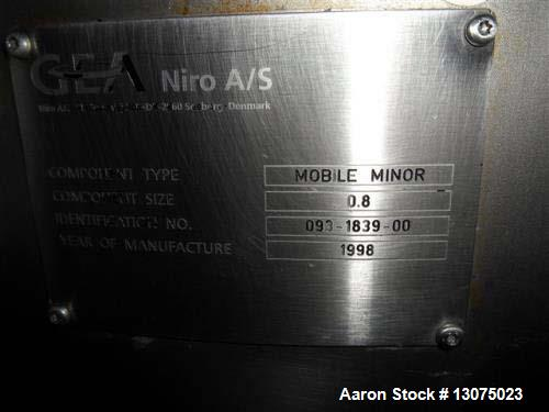 Used- Niro Minor 2000 Mobile Spray Dryer. Stainless steel construction. Electrically heated. .8 component size. Centrifugal ...
