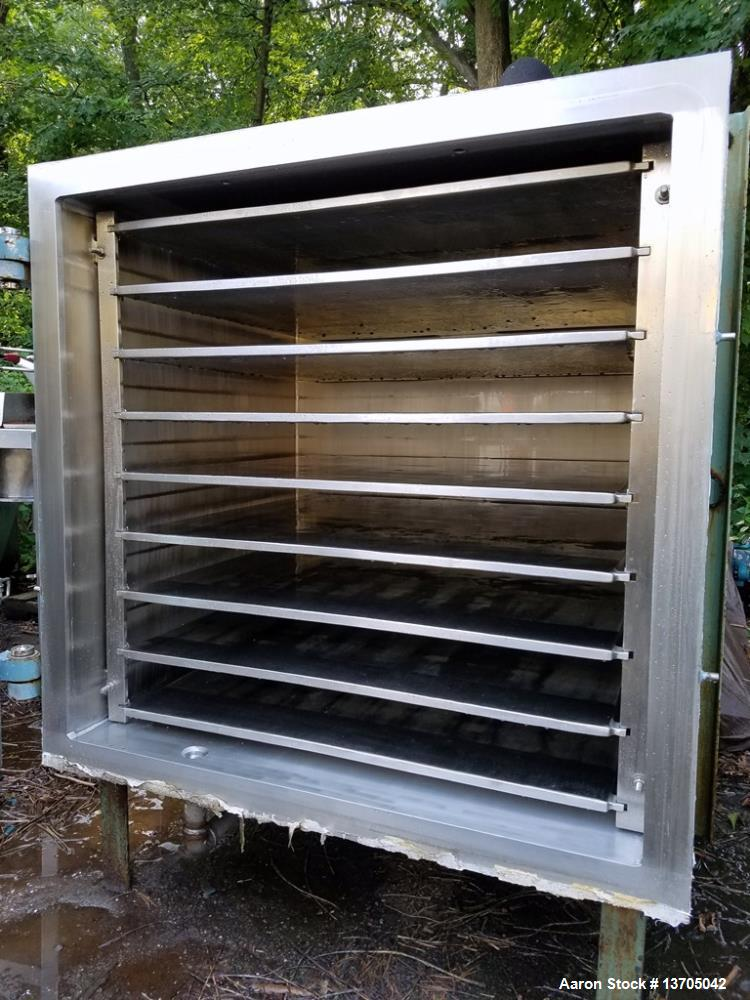 Used- 100 Square Foot, Stokes, Model 338-H-8 Vacuum Shelf Dryer. Sanitary stainless steel chamber. Rated full vacuum at 250 ...