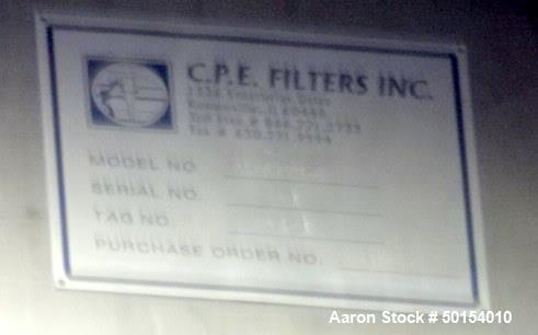 "Used- C.P.E. Filters Bag house, Stainless Steel. Approximate 74"" x 96"" x 60"", cone bottom. Includes fan."
