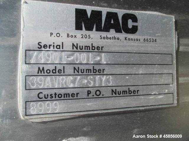 Used- MAC Dust Collector, Model 39AVRC7-STY3