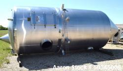 "Used- Pulse Jet Dust Collector, Approximate 1100 Square Feet, Stainless Steel. Housing approximate 102"" diameter x 110"" stra..."