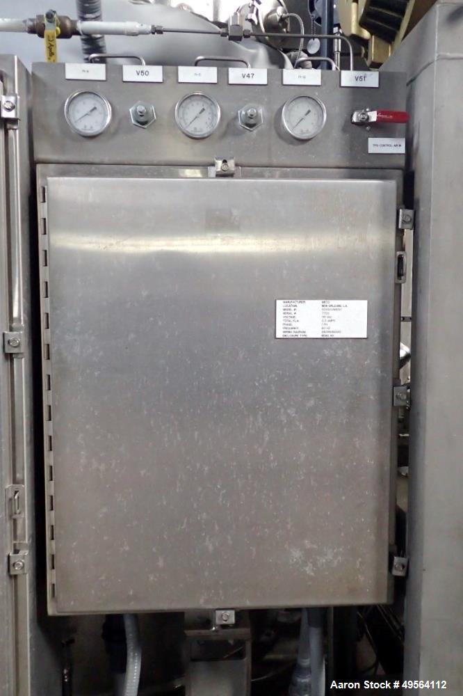 Used- MECO Vapor Compression Still, Model PES1000MSSH. Nominally rated 1000 gph. 75 hp blower. Skid mounted. Serial# 7702, b...