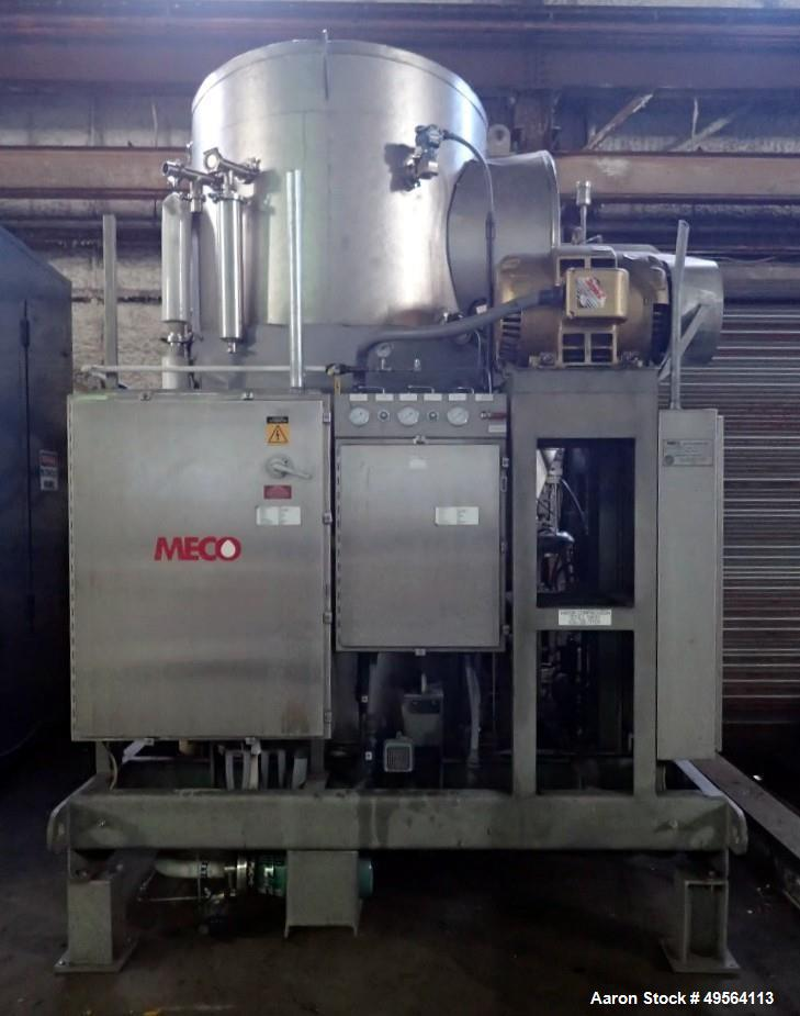 Used- MECO Vapor Compression Still, Model PES1000MSSH. Nominally rated 1000 gph. 75 hp blower. Skid mounted. Serial# 7701, b...