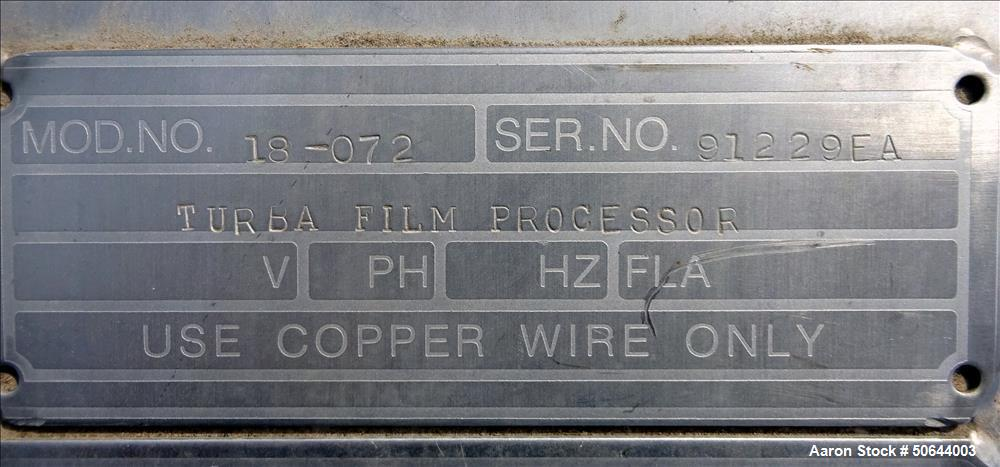 Used- Votator Turba-Film Agitated Thin Film Evaporator, Model 18-072,