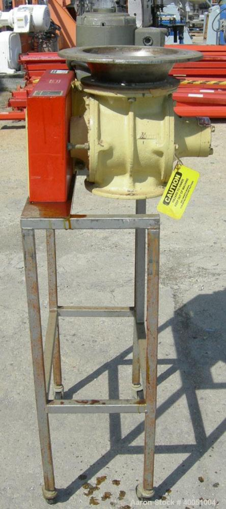 "Used-Premier Pneumatics heavy duty airlock rotary valve, model HDR-GG-76-8NH-2-RT-T3, 304 stainless steel. Approximately 6"" ..."
