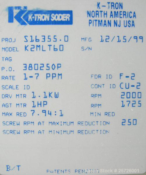 "Used- K-Tron screw type modular loss in weight feeder, model K2MLT60, 316 stainless steel. Approximately 2 1/4"" diameter twi..."