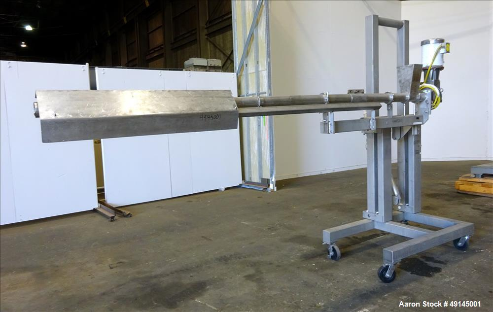 Used- Coating Drum Powder Feed Screw, 304 Stainless Steel