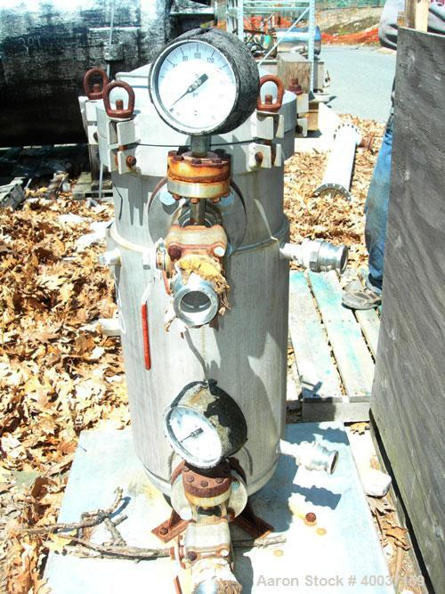 """Used-Used: Technical Fabricators inline filter, model I/0 500-2, 316 stainless steel. Jacketed chamber 12"""" diameter x 30"""" st..."""