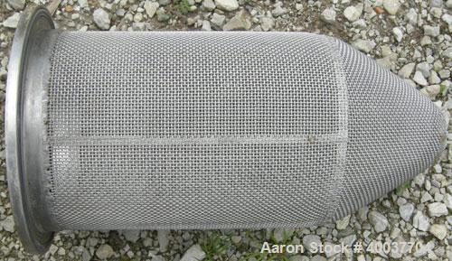 "Used- Basket Strainer Filter, 316 Stainless Steel. Jacketed chamber approximately 8 1/2"" diameter x 17 1/2"" deep. Flat bolt ..."