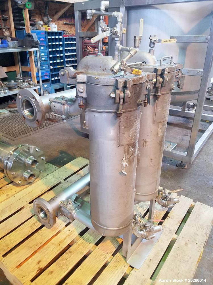 """Used- Set of (2) 8"""" Filtration Systems Basket Filters, Stainless Steel."""
