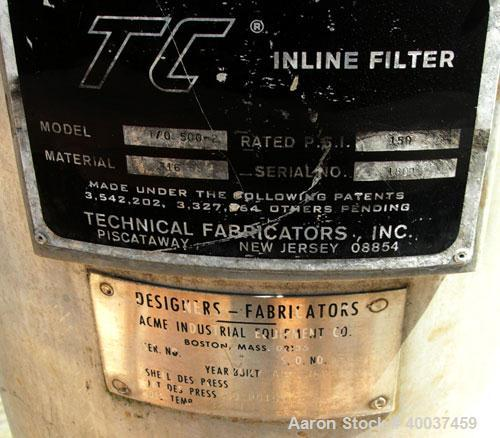 """Used- Technical Fabricators inline filter, model I/0 500-2, 316 stainless steel. Jacketed chamber 12"""" diameter x 30"""" straigh..."""