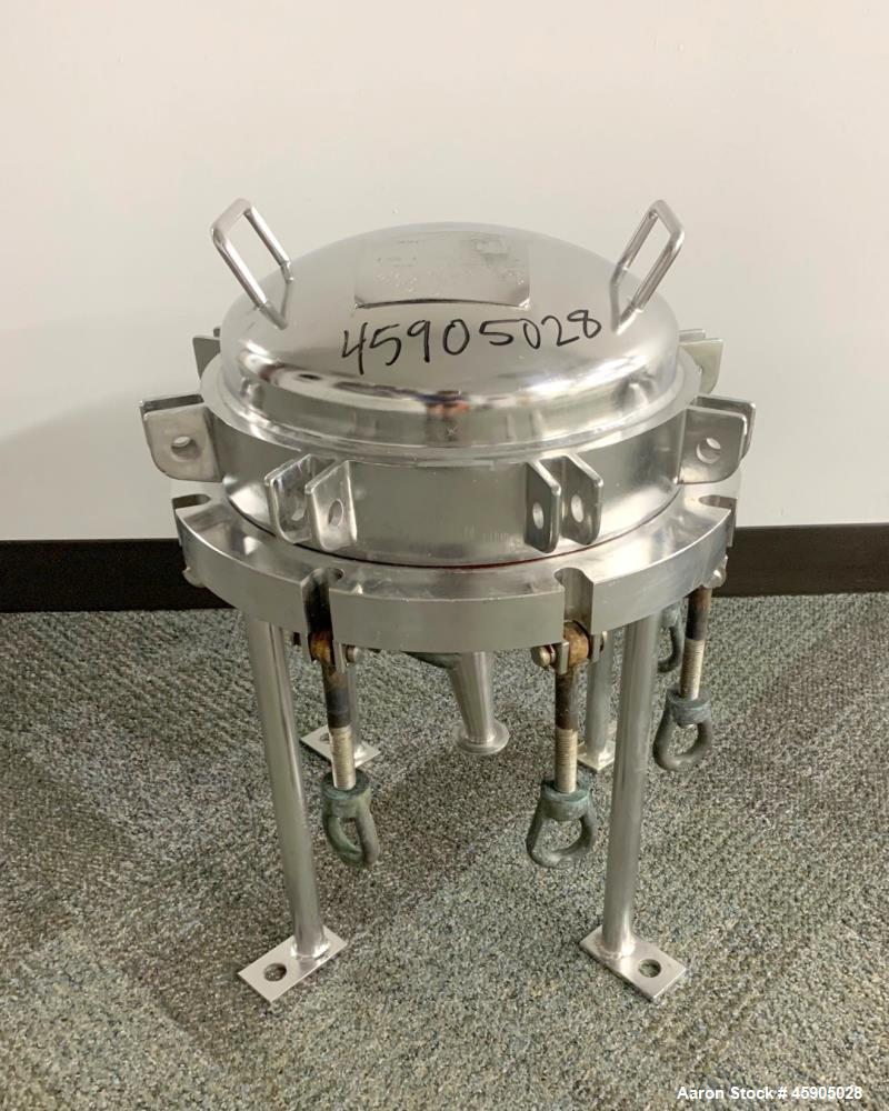 """Used- Pall Trinity Micro Filter, 316L Stainless Steel. 12"""" Diameter x 7"""" deep. Rated 100 psi Full Vacuum at -20 to 300 degre..."""