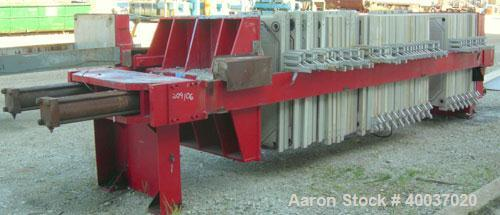 """Used: Filter Press, 47"""" x 47"""". (51) 2 1/2"""" thick polypropylene plates, 1/2"""" recess. (1) head, (1) tail plate. 4 corner feed...."""