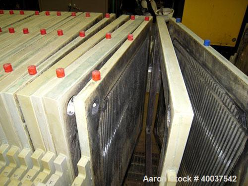 """Used- Filtratec plate and frame filter press, 31 1/2"""" x 31 1/2"""" polypropylene. Approximately 160 square feet filter area, 10..."""