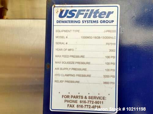 Unused- JWI US Filter J-Press Side Bar Filter Press, Model 1000M32-18/28-30/20SN