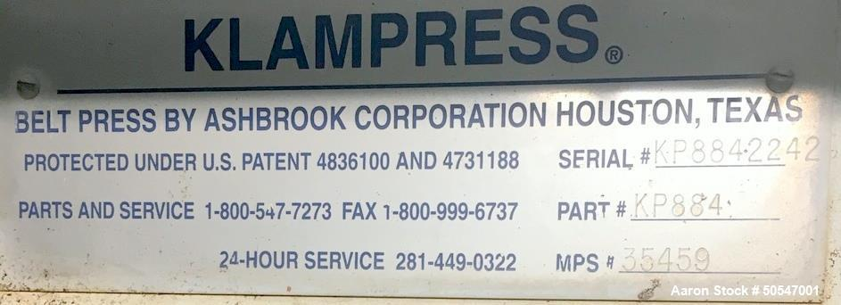 Used- Ashbrook Klampress Belt Press
