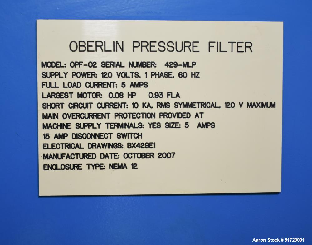 Used- Oberlin Filter Company OPF-02 Pressure Filter
